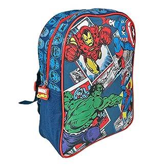 PERLETTI – Mochila Niño Marvel Los Vengadores – Bolso Escolar Avengers Estampado Capitán América, Hulk, Iron Man y Spiderman – Bolsa Infantil para la Escuela Guarderia Viaje – 31x24x10 cm
