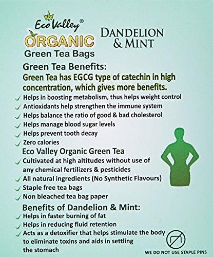 Eco Valley Natural Green Tea, Dandelion & Mint, 30 Tea Bags