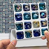 DXHH 18 STÜCKE Glasmosaik Stil Fliesen Aufkleber Dekorative Aufkleber Kreative Rutschfeste Selbstklebende Wandtattoos Floor Sticke