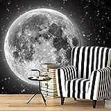 LNPP Tapete Mond Sternenhimmel 116 * 176Cm Holz Bäume Wandbilder Selbstklebend
