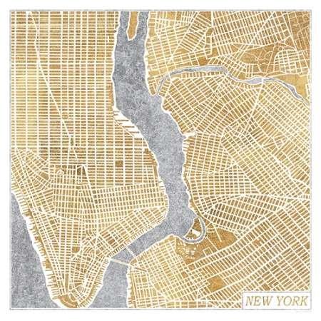 Feeling at Home Feelingathome.it-LEINWANDDRUCK-Gilded-New-York-Karte-cm82x82-poster-bild-auf-leinwand