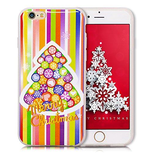 iPhone 6S Plus Hülle, iPhone 6 Plus Hülle, SpiritSun Weihnachten Serie Handy Hülle für Apple iPhone 6 6S Plus (5.5 Zoll) Weich TPU Silikon Schutzhülle Niedlichen Muster Schale Tasche Ultradünnen Trans Schmetterling und Blume