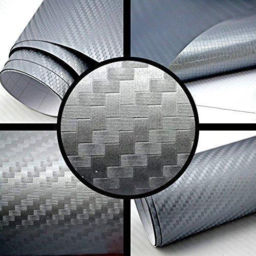 3D Carbon Folie silber-grau BLASENFREI 3m x 1,52m mit Luftkanäle