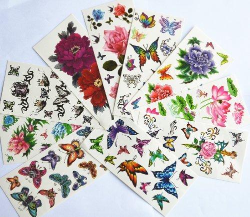10pcspackage-chaud-de-vendre-des-stickers-tatouages-temporaires-diffrents-modles-y-compris-lotus-poisson-rouge-papillons-colors-et-des-fleurs-papillon-anges-fleurs-etc-noires