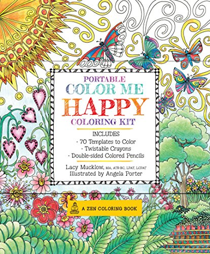 Portable Color Me Happy Coloring Kit: Includes Book, Colored Pencils and Twistable Crayons (Zen Coloring Book) - Mandala Colouring Kit