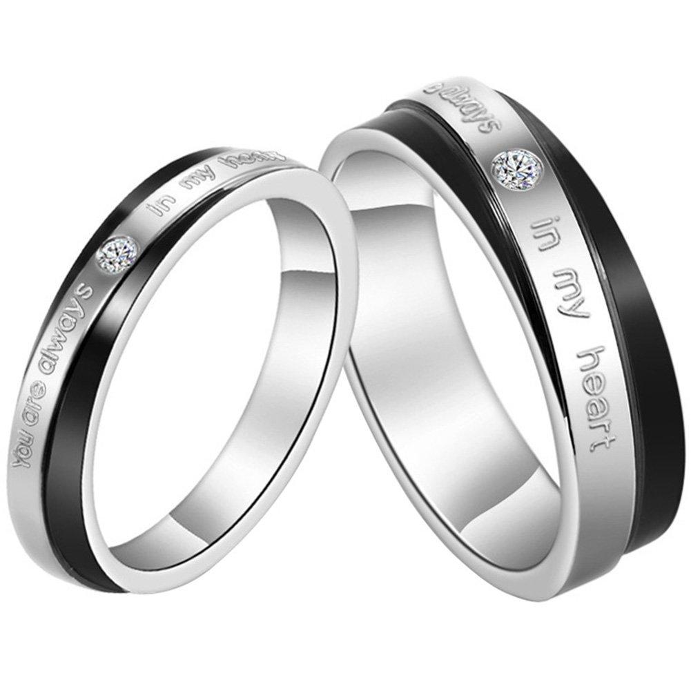 "JewelryWe Schmuck 1 Paar Edelstahl Partnerringe, ""You are always in my heart"" Gravur, Freundschaftsringe Eheringe Trauringe Verlobung Ringe Band, Schwarz Silber"