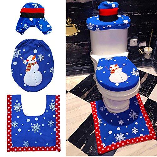 Finsink Weihnachten Toilettensitzbezug Weihnachtsdeko WC Sitzbezug, 3-teiliges Set WC-Sitz Cover (Schnee)