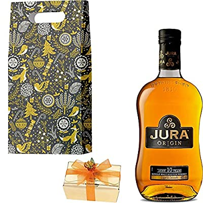 The Isle Of Jura 10 Year Old Origin Single Malt Scotch Whisky 35cl Half Bottle Christmas Gift Set With Handcrafted Merry Christmas Gifts2Drink Tag