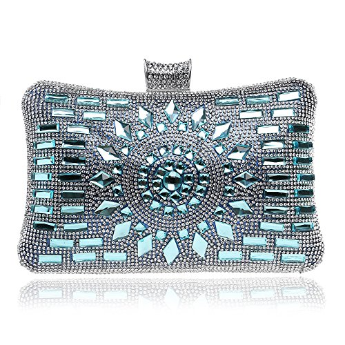 ruiio Fashion Lady Diamond Luxus Abend Handtasche Hochzeit Party Clutch Make-up Taschen Tasche Geldbörse seeblau