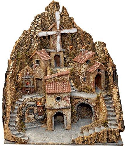 Presepe in legno e sughero con luci fontana forno e mulino