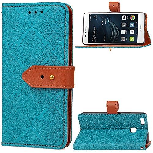 GHC Cases & Covers, Für Huawei P9 Lite Fall, European Kamin Royal geprägt Blumenmuster Horizontale Flip Stand PU Ledertasche mit seitlichen Schnalle & Cash Card Slots (Color : Blue) (Kamin Geprägte)
