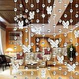 LNIMIKIY - Cortina de Cuentas de Cristal con diseño de Mariposa, Colgante de Bola de Cristal, Transparente, para salón, Dormitorio, Ventana, Puerta, Adorno Colgante, Transparente, Tamaño Libre