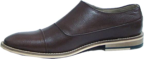 ASM Handmade Brown Leather Double Buckle Monk Shoes with Handmade Neolite Sole for Men.