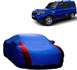 MotRoX Lively Water Resistant Car Body Cover For Mahindra Scorpio (R Blue & Blue - V Shape)