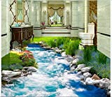 Malilove 3d-PVC Bodenbeläge benutzerdefinierte Wandbild Selbstklebende Wasserdichter Boden gras fluss wasser gemälde malerei Fototapete für Wände 3d