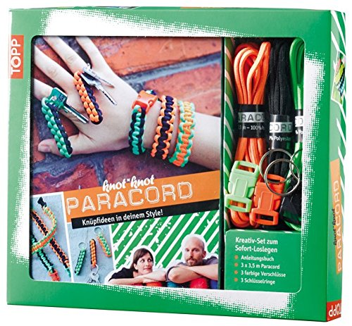 Preisvergleich Produktbild Kreativ-Set Paracord: Anleitungsbuch + Paracord, 3 Verschlüsse, 3 Schlüsselanhänger