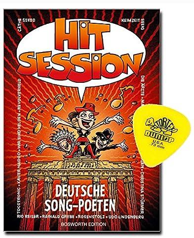 Hit Session Deutsche Song-Poeten - DAS ANWENDERBUCH FÜR GITARRISTEN MIT ORIGINAL DUNLOP-PLEKTRUM [Noten/sheet music]