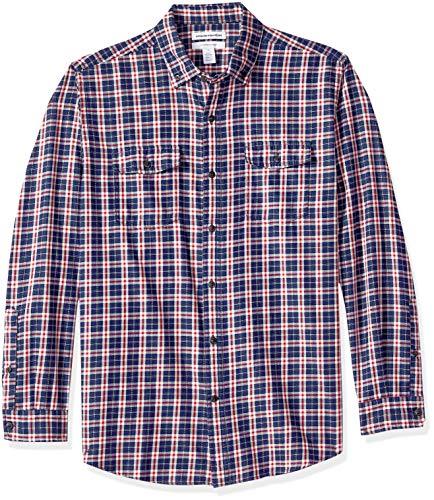Button-down One Pocket Shirt (Amazon Essentials Herren Regular Fit-Hemd aus Baumwolltwill mit langen Ärmeln, Rot (Navy/Red Plaid Nrp), One Size (Herstellergröße: XS - XXL))