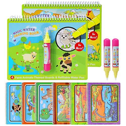 BBLIKE Magic Water Zeichnung Buch, 2 Wiederverwendbare Färbung Malerei Buch Mit 2 Magic Pen Reißbrett Jungen Mädchen Bildung Lernspielzeug Für Kinder (A)