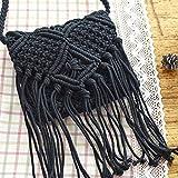 QIND 2018 Moda Playa Bohemia Borla Crossbody Bolso de Hombro Hecho a Mano Pajita Tejida Mujer Crochet Flinged Bolsa, Negro, 20 * 20