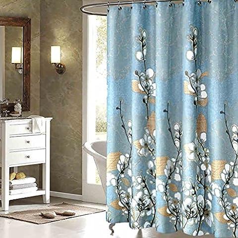 Rideaux de douche Rideau de douche Mildew Imperméable à l'eau Protection de l'environnement Impression Blanc Magnolia Fleur Douche Rideau rideaux de douche anti moisissure ( taille : 120cm*200cm )