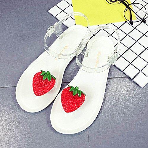 Longra Femme Strawberry Toe Beach Sandales Plates Blanches