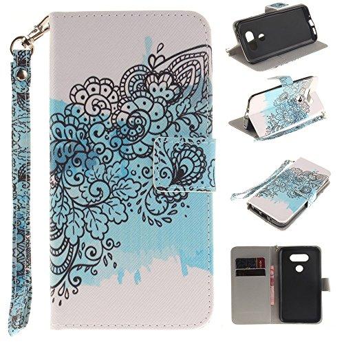 Diary Style Leather Wallet Stand Tasche Hüllen Schutzhülle - Case für LG G5 SE H845 with Handy Strap - Abstract Flower