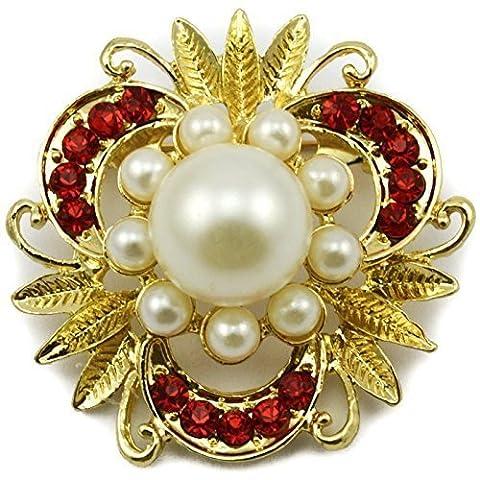Plaqué or de grande Broche fleur fausse perle strass rouge