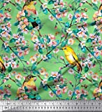 Soimoi Grun Baumwolle Ente Stoff Vogel, Blätter und