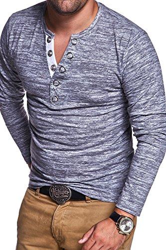 MT Styles Henley Longsleeve Buttons T-Shirt BL-024 Grau
