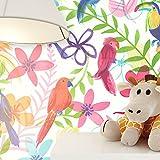 NEWROOM Papier peint enfants coloré papier enfants,floral Animaux,fleurs