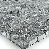 Naturstein Wand Mosaik 3D Brickstones Verblender Anthrazit