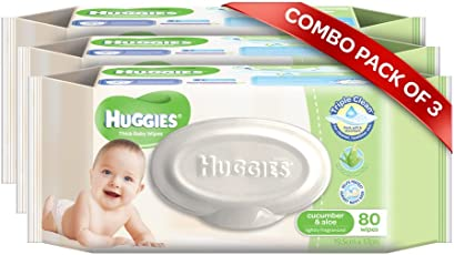 Huggies Cucumber and Aloe Thick Baby Wipes, 80s Pack Combo of 3 Packs (White)
