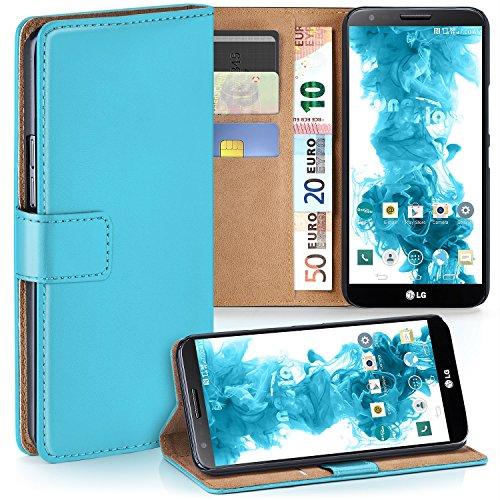moex LG G2 | Hülle Türkis mit Karten-Fach 360° Book Klapp-Hülle Handytasche Kunst-Leder Handyhülle für LG G2 Case Flip Cover Schutzhülle Tasche