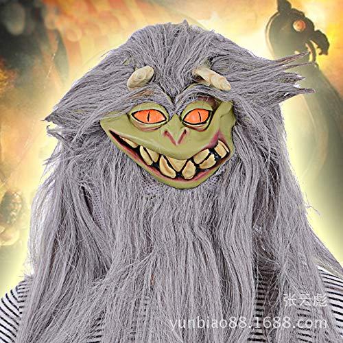 Ya1&Ya Performance Requisiten _ Silber Haar Horror Monster Latex Maske Tanz Party Kopf Halloween Gruselige Leistung Show Maske