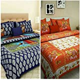 Suraaj Fashion Combo Cotton Double Bed Sheets With 4 Pillow Covers (Multicolour, Cb010)- Set Of 2