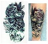 Temporäre Tattoos Temporary Tattoo Fake Tattoo - BLUMEN UHR TOTENKOPF