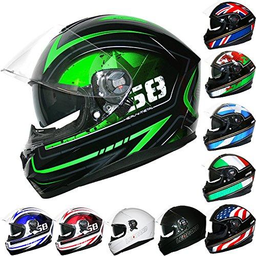 *Venta de Año Nuevo* Leopard LEO-828 Cascos Integrales de Moto Motocicleta Bicicleta ECE 22-05 Aprobado + Doble Visera #08 Verde/Negro/Plata M (57-58cm)