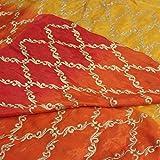 #7: Fab Couture Shaded Chiffon Zari Embroidery-Orange Unstitched Fabric