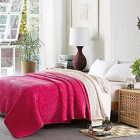 clg-fly Autunno e inverno coperte coperta coperta doppio spessore doppio letto singolo fogli, Upgrade key texture-rose, 200x230cm