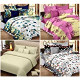 Story@Home Magic 152 TC Pack of Premium 4 Pcs Bedsheets with 8 Pillow Covers Multi