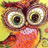 Kit di ricamo e pittura con strass 5D, per il fai da te, per quadro con strass incollati, strumenti per punto a croce con brillantini, Graffiti owl, 30 x 30 cm