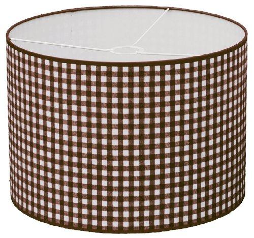 Taftan - Pantalla para lámpara de techo colgante (35 cm de diámetro, tamaño grande), diseño de cuadros de 7 mm, color marrón