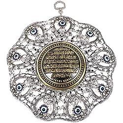 Wanddeko Wandschmuck Deko - Böser Blick Nazar Boncuk Evil Eye - Rund - Gebet Ayetel Kürsi Muslim Islam - Glücksbringer blaues Auge