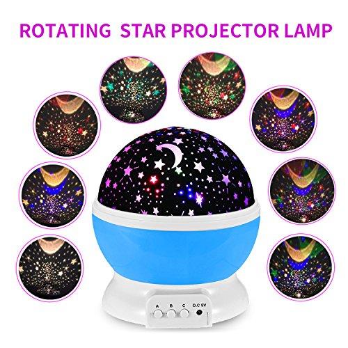 Starry Sky Projektor, 360 Grad Rotierende romantische Lampe Sternenlicht Deckenbeleuchtung Entspannende Stimmung Licht Projektion Lampe Kinder Schlafzimmer Bett Lampe (Blau)
