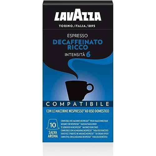 Lavazza 100 capsule compatibili Nespresso, Decaffeinato Ricco - 10 Confezioni da 10 Capsule