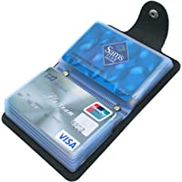 Mocasor Credit Card Holders for Men & Women Soft Leather Bank Card Case Slim Pocket Wallet ID Card Organiser Business Card Case Purse with 24 Durable Plastic Insert Sleeves (01 Black)