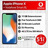 Apple iPhone X (Silber) mit 64 GB internem Speicher, Vodafone Smart XL inkl. 11GB Highspeed Volumen mit Max 500 Mbits, inkl. Telefonie- und SMS Flat, EU-Roaming, 24 Monate Min. Laufzeit, mtl.