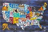 Poster 90 x 60 cm: Nummernschild Karte der USA von Design Turnpike - Hochwertiger Kunstdruck, Neues Kunstposter