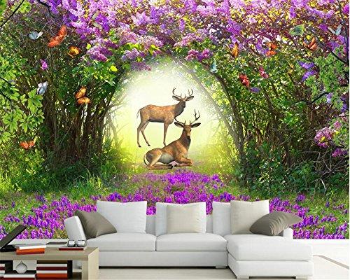 Preisvergleich Produktbild Xcmb 3D Advanced Ultra Hd Wallpaper Prächtige Blume Wald Elch Wohnzimmer Wohnzimmer Tv Hintergrund Tapety-200Cmx140Cm